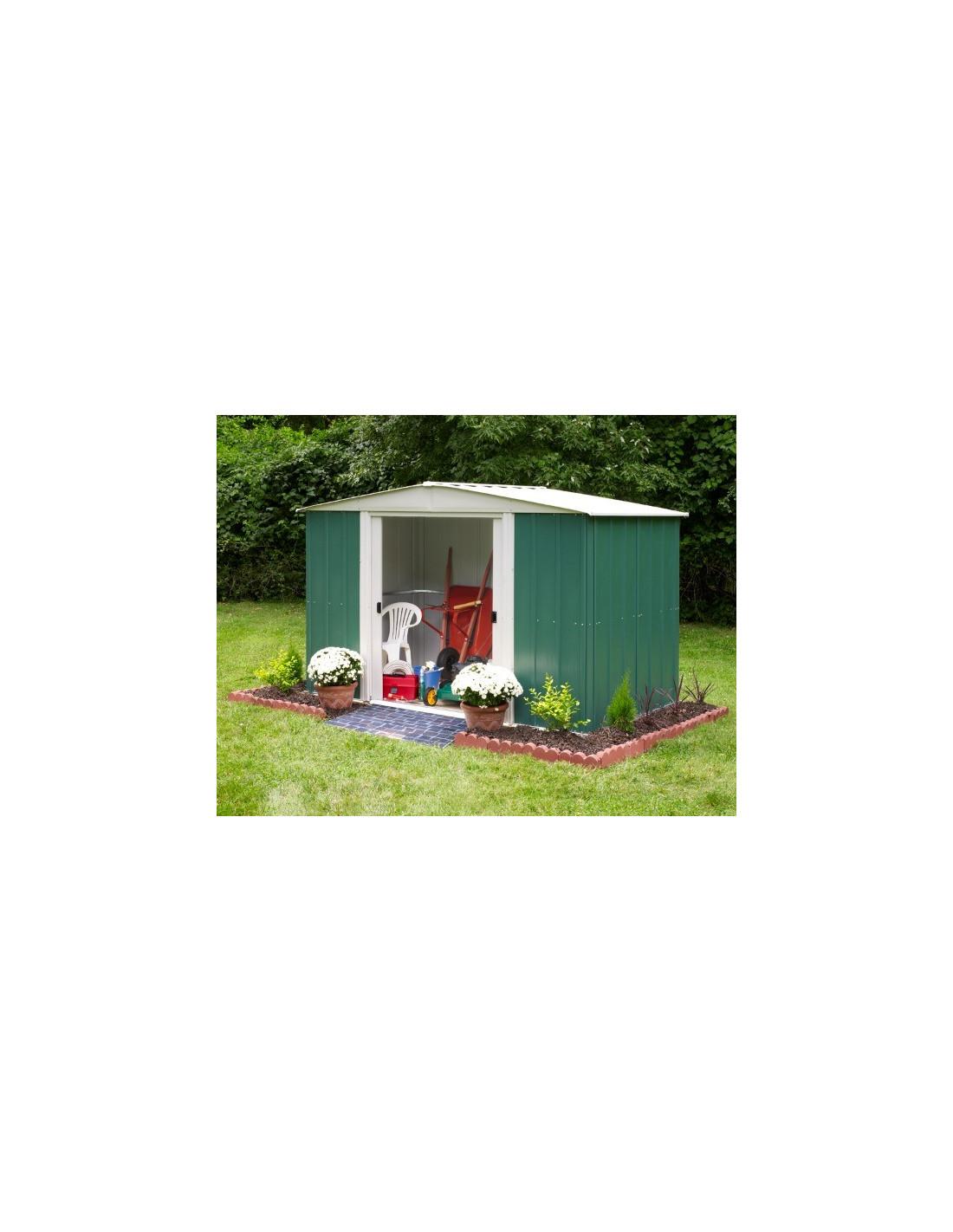 Chalet jardin abri m tal rmg10862 vert hyper for Chalet exterieur jardin