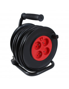 DEBFLEX Enrouleur HO5VV-F 3G1.5 4P+ disjoncteur 25 m Noir