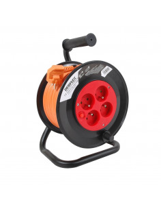 DEBFLEX Enrouleur HO5VV-F 3G1.5 4P+ disjoncteur 25 m Orange