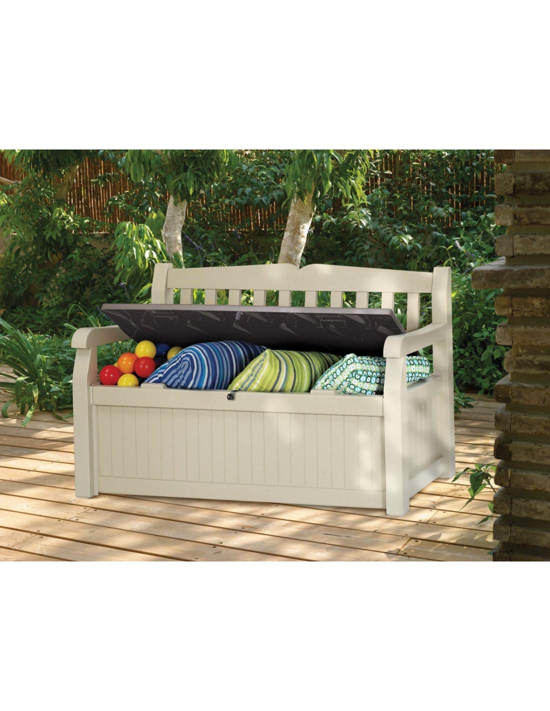 chalet jardin coffre banc pour le jardin en pvc bogota 265l 140 x 60 x 84 cm hyper brico. Black Bedroom Furniture Sets. Home Design Ideas