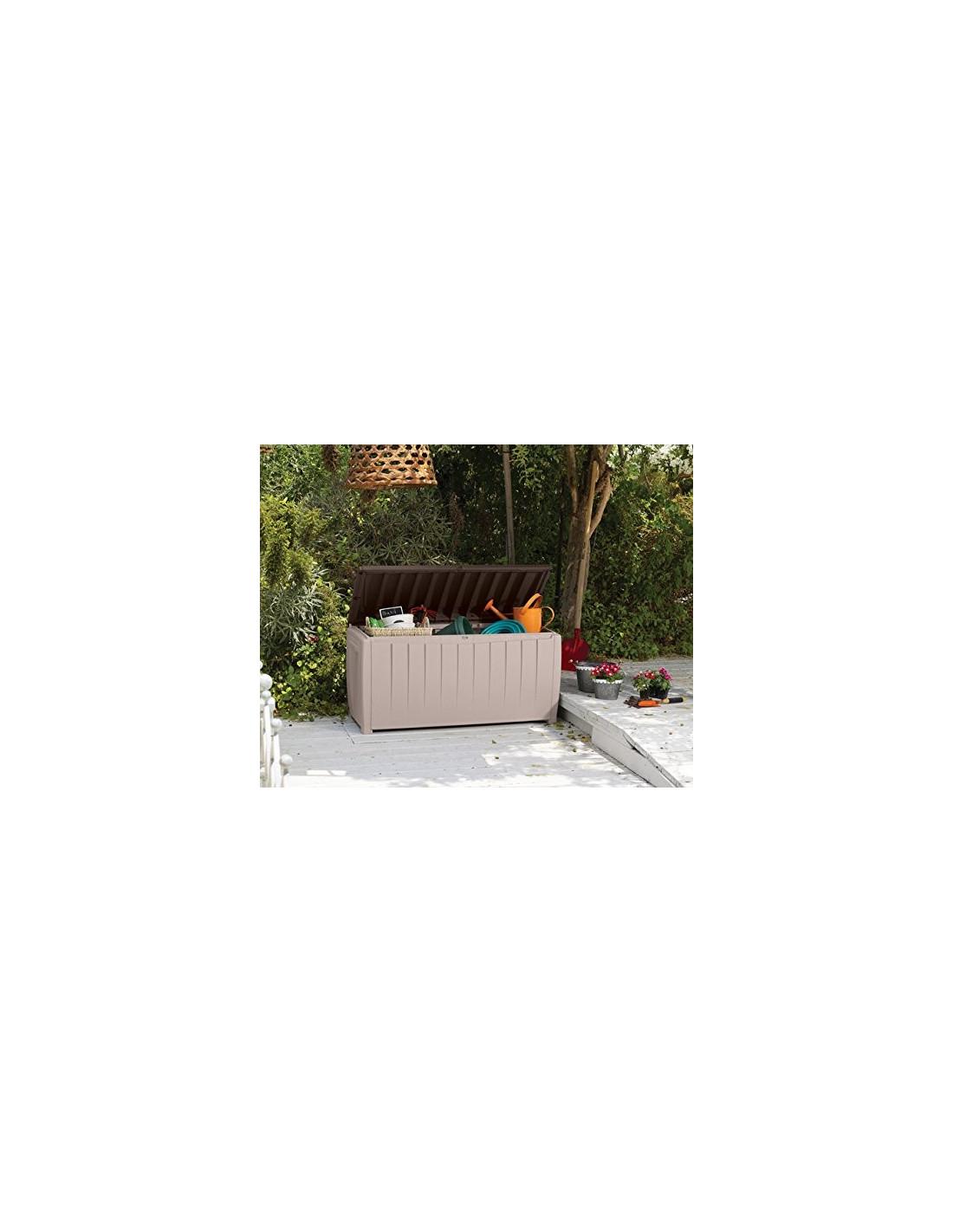 Chalet jardin coffre de rangement avec assise beige - Coffre rangement avec assise ...