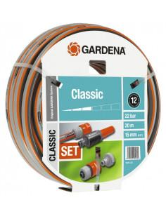GARDENA Batterie d'arrosage tuyau classic 20m d15mm + accessoires