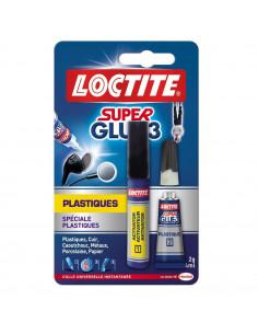 LOCTITE Colle Super Glue-3 Spécial Plastiques tube 2 g + stylo 4 ml