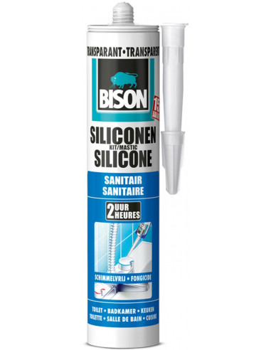 Bison Mastic Silicone Sanitaire Résistant à L Eau Pour Rendre étanches Tous Les Joints Sanitaires Transparent 300 Ml Hyper Brico