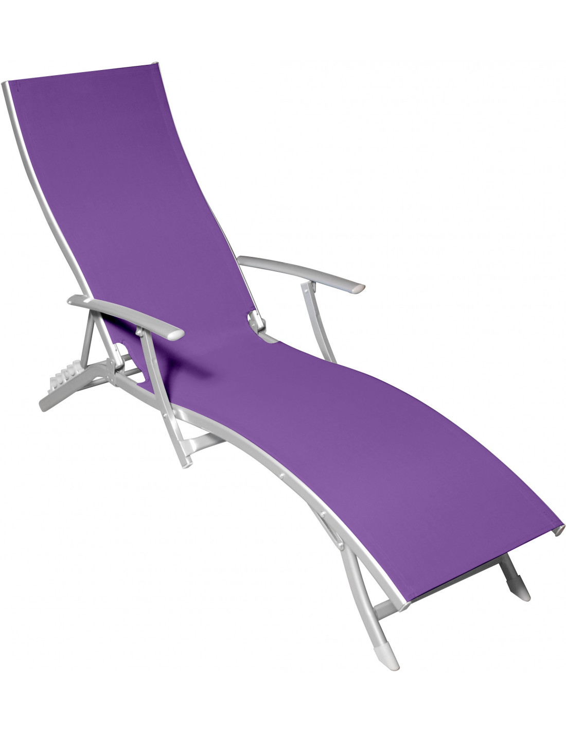 Chaise longue 5 positions mauve hyper brico for Mobilier jardin chaise longue