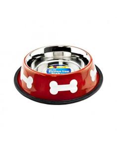 Écuelle inox pour chien rouge 1L