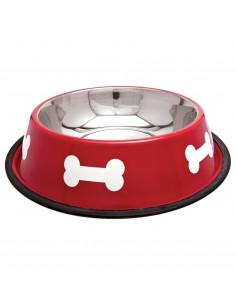 Écuelle inox pour chien rouge 2L