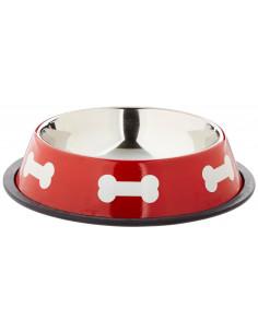 Écuelle inox pour chien rouge 0.5L