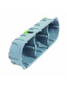 Debflex Boîte d'encastrement multi matériaux 3 postes D67/P40 Gris/Bleu