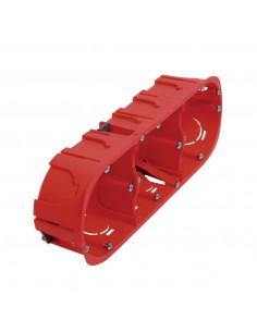 Debflex Boîte d'encastrement cloison sèche 3 postes D67/P40 Rouge