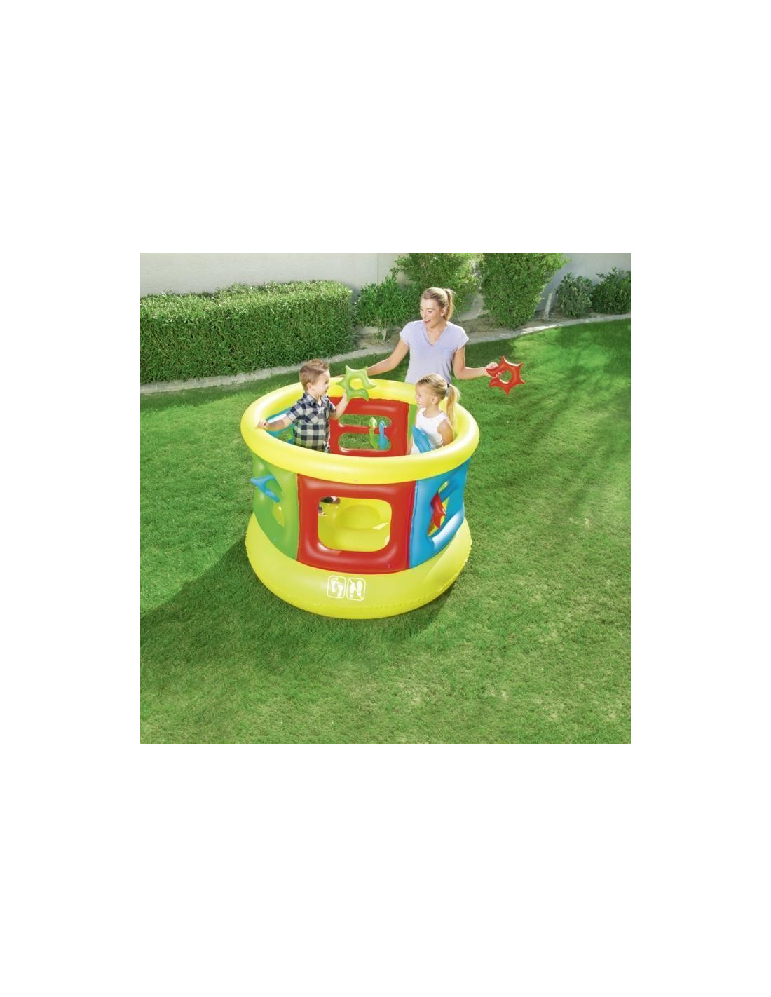Bestway trampoline gonflable jumping tube gym hyper brico for Trampoline piscine