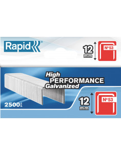 RAPID Agrafes 53/12mm galva bte 2500