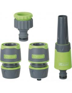 RIBIMEX Kit lance d'arrosage + 2 raccords 15mm + nez de robinet