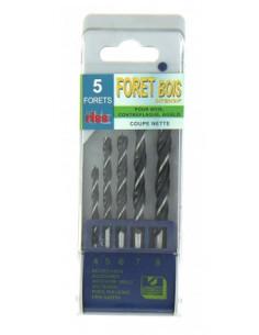 Coffret plastique 5 forets bois