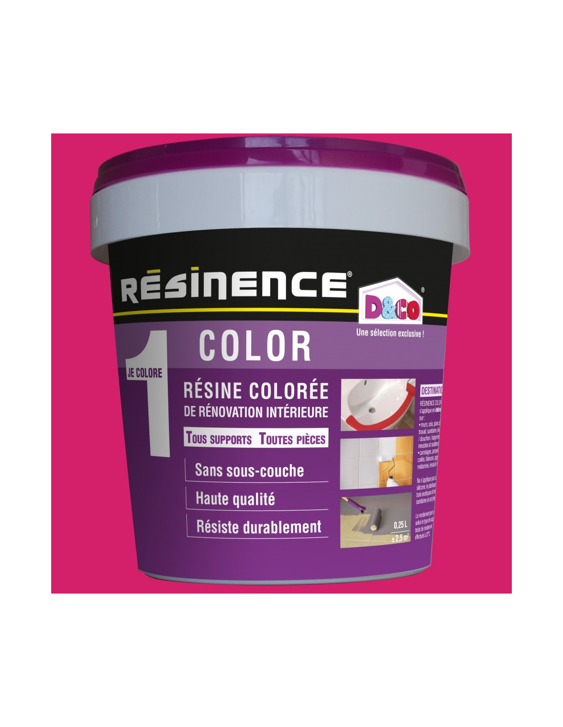 Leroy Merlin Teinture Textile resinence color résine colorée rénovation framboise 250ml