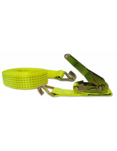 CHAPUIS Sangle polyester arrimage tendeur cliquet + 2 crochets jaune L10m 50mm 5tonnes