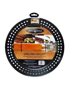 GRILL ZONE Poêle ronde + manche pour barbecue