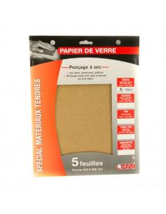 SAVY Papier verre 4 feuilles grain gros