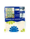 FRANDIS Rideau de douche 180x200cm fleurs bleu/vert