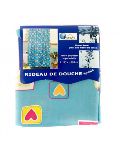 FRANDIS Rideau de douche 180x200cm bleu turquoise