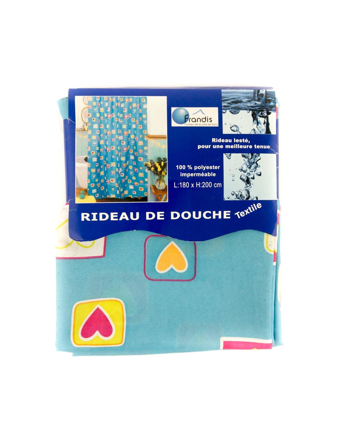 frandis rideau de douche 180x200cm bleu turquoise hyper. Black Bedroom Furniture Sets. Home Design Ideas