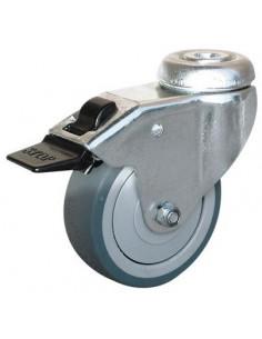 NORAIL Roulette collectivités à œil pivotante avec frein d75mm