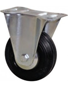 NORAIL Roulette manutention caoutchouc noir fixe d50mm
