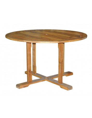 Table acacia 120cm ronde hyper brico for Table exterieur acacia