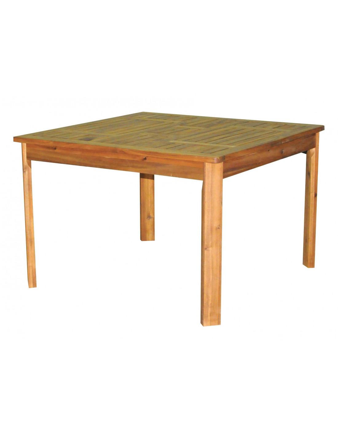 Table acacia 110x110x73cm sunl hyper brico for Table exterieur acacia