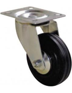 NORAIL Roulette manutention caoutchouc noir pivotante d125mm