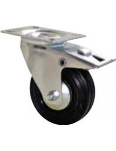 NORAIL Roulette manutention caoutchouc noir pivotante avec frein d100mm