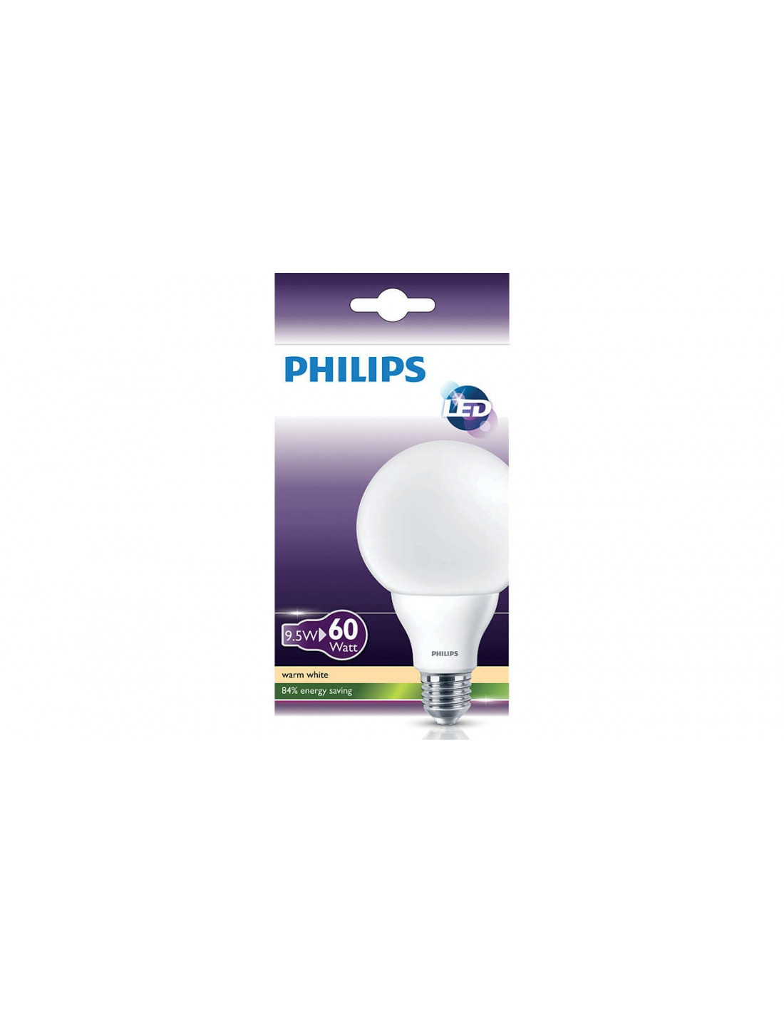 philips ampoule led globe blanc chaud 9 5w 60w culot e27. Black Bedroom Furniture Sets. Home Design Ideas