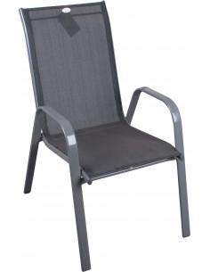 FORNORD Fauteuil empilable alu gris / textile noir 70x55x94 cm