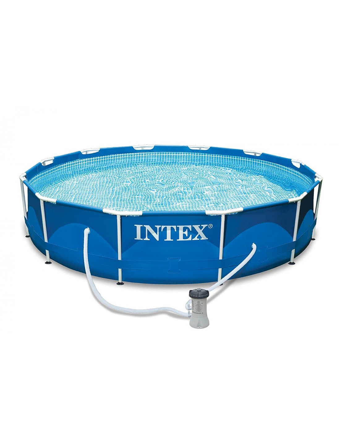Intex piscine tubulaire ronde metal frame 366 x 76 cm for Piscine intex tubulaire