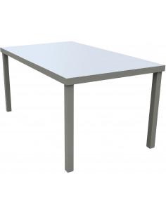 FORNORD Table de jardin alu/verre champagne/taupe L.160 x l.90 x H.75 cm