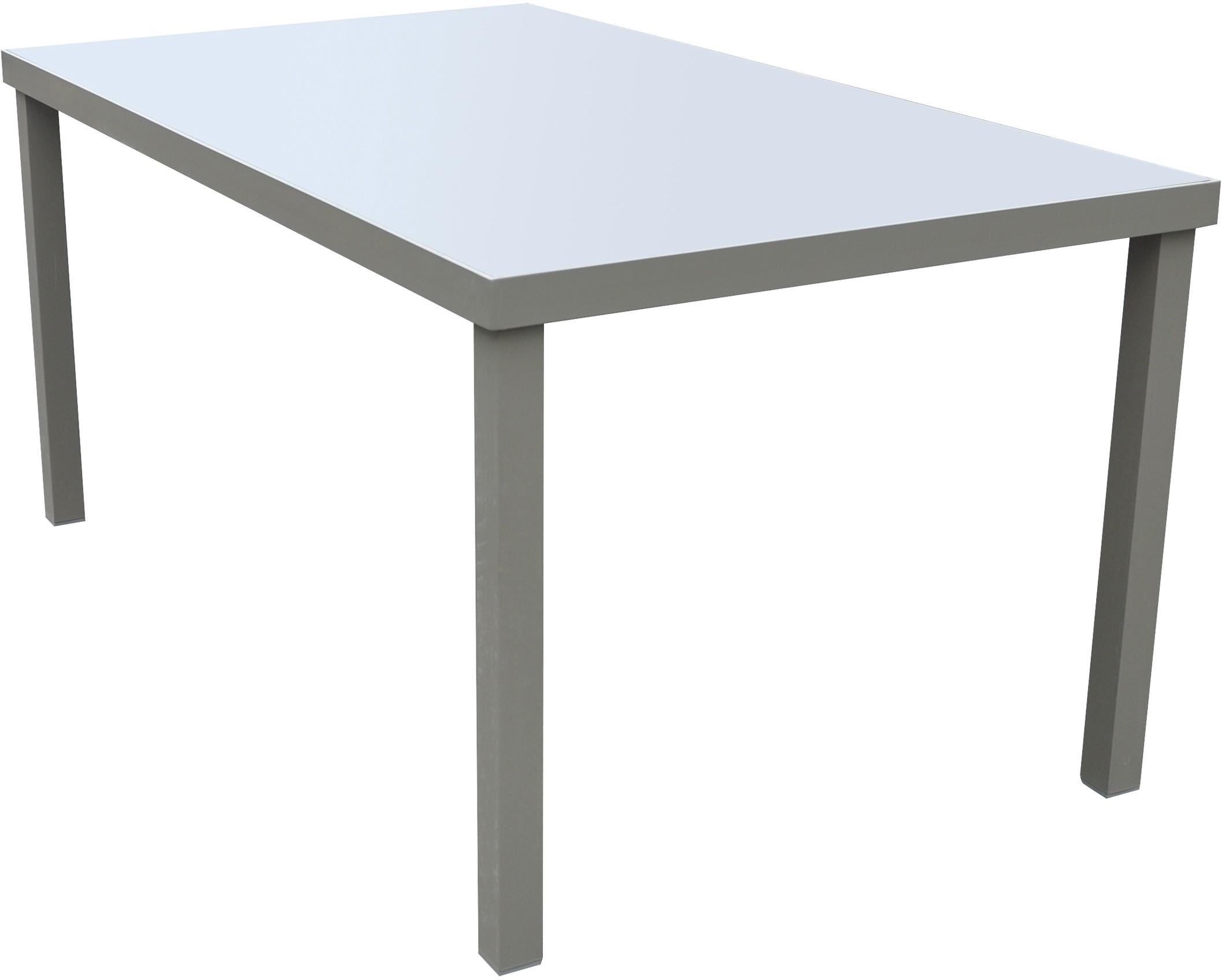 FORNORD Table de jardin alu/verre champagne/taupe L.160 x l ...