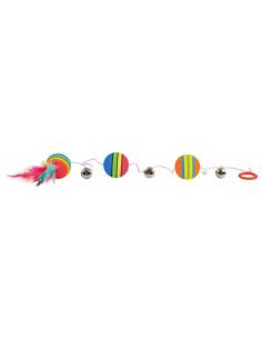 TRIXIE Balle arc-en-ciel sur bande élastique, mousse d3,5cm