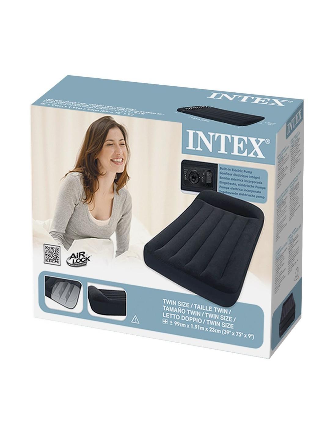 Intex matelas lit gonflable lectrique pillow rest 1 place 99 x 191 x 30 cm - Lit gonflable electrique ...