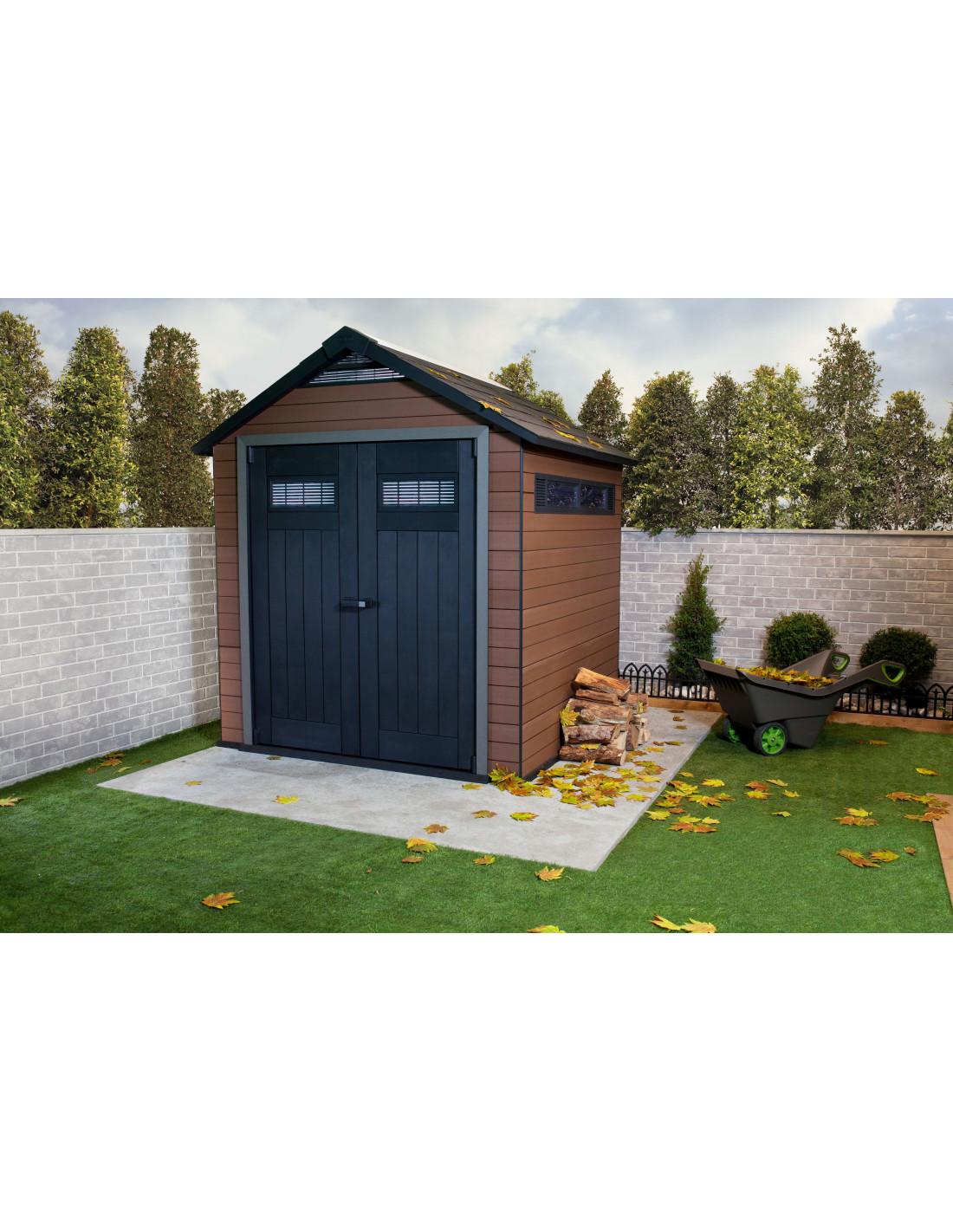 chalet jardin abri composite fusion 757 5 15m marron hyper brico. Black Bedroom Furniture Sets. Home Design Ideas