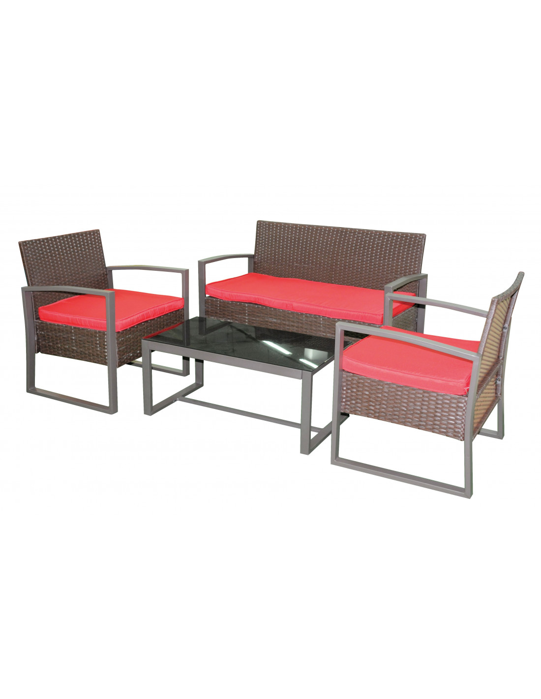 Ensemble salon lounger rouge hyper brico - Mobilier jardin rouge besancon ...