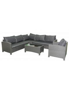 Ensemble salon de jardin en résine tressée noir 1 canapé + 1 fauteuil + 1 table basse