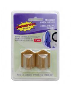 SUPERTITE Porte manteaux autocollant plastique marron 2 unités