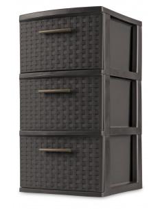 STERILITE Tour 3 tiroirs WEAVE noir