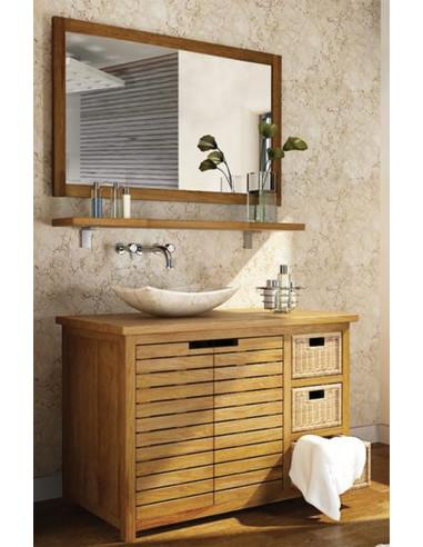 Pascal jr paillet meuble salle de bain en teck pyla 110 cm for Meuble salle de bain 75 cm
