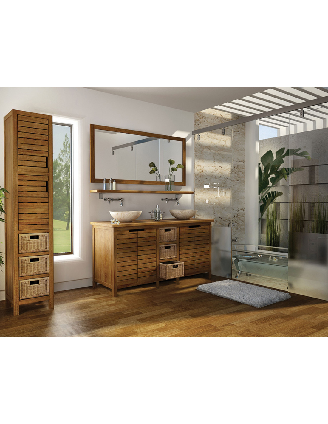 pascal jr paillet meuble salle de bain en teck pyla 140 cm. Black Bedroom Furniture Sets. Home Design Ideas