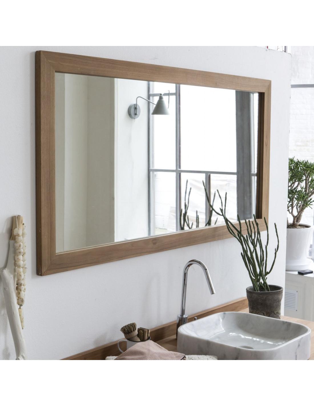 Pascal jr paillet miroir encadr en teck 140 x 70 cm for Miroir encadre