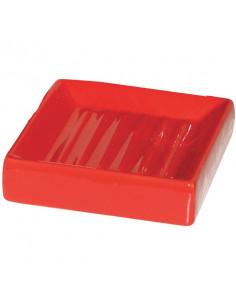 FRANDIS Porte-savon cube céramique rouge