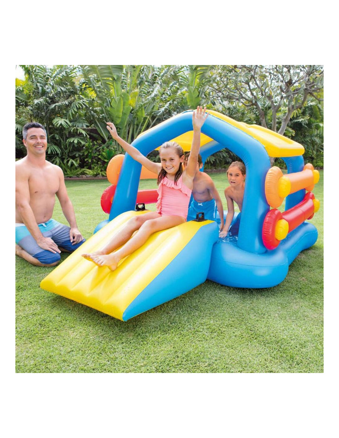 Intex ile flottante avec toboggan 279 x 173 x 122 cm for Toboggan intex piscine
