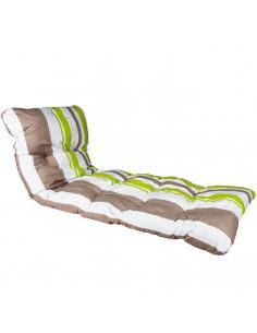Coussin pour bain de soleil taupe rayé vert