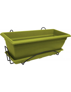 Jardinière plastique PRISCA avec soucoupe et support 50 cm couleur vert argile